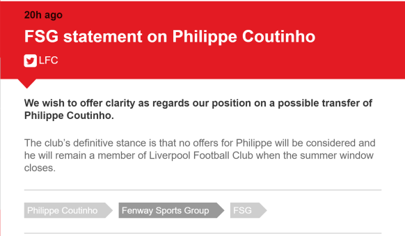 Philippe Coutinho not leaving statement.PNG